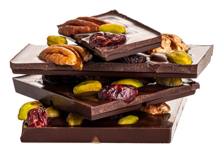 Čokoláda brusnica, pistácia, vlašský orech
