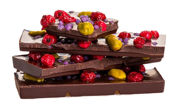 Čokoláda, pistécie, ríbezle, fialka