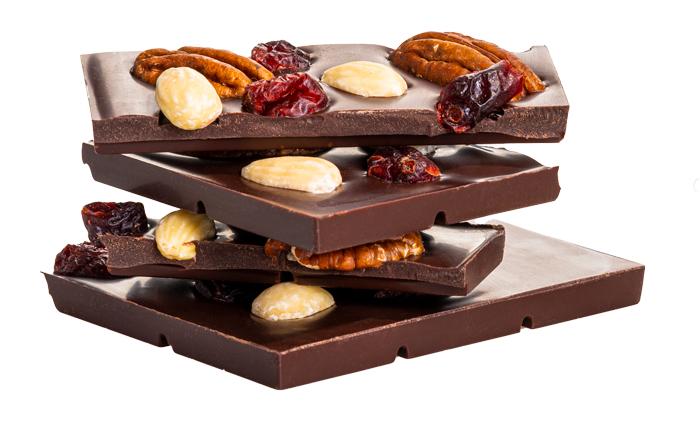 Čokoláda, brusnice, mandle, vlaský orech