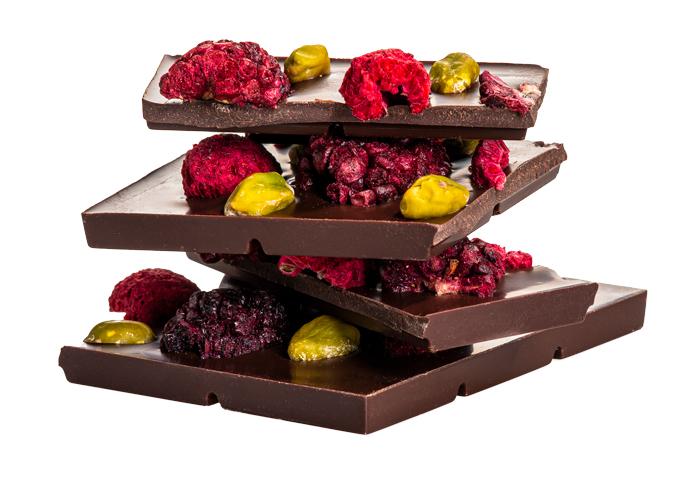 Čokoláda pistácia, malina